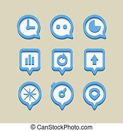 icone, web, collezione, differente