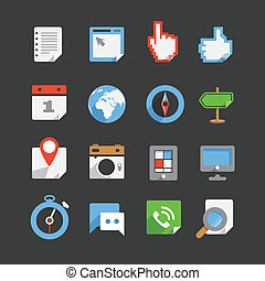 icone, web, colorare, moderno, interfaccia, collezione, trendy