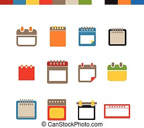 icone, web, differente, calendario, collezione