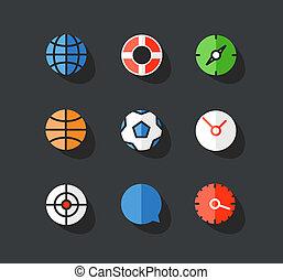 icone, web, elementi, differente, disegno, rotondo, collection.
