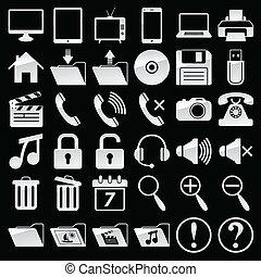 icone, web, media, set