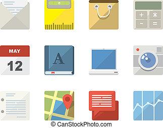 icone, web, mobile, domande, appartamento