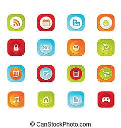 icone, web, mobile, set, appartamento