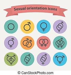 icone, web, nero, vettore, sessuale, orientamento