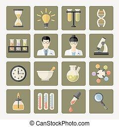 icone, web, scienza, vettore, ricerca