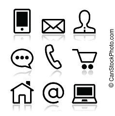 icone, web, set, contatto, vettore