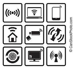icone, web, set, tecnologia fili