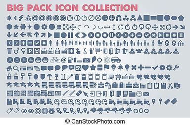 icone, web, universale, collezione