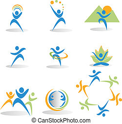 icone, yoga, natura, sociale, salute