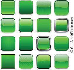 icons., app, verde, quadrato