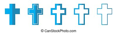 icons., croce, cristiano, vettore, illustration.