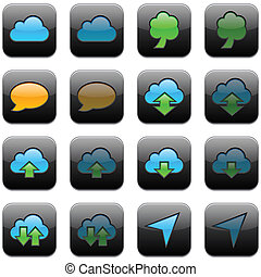 icons., moderno, app, quadrato