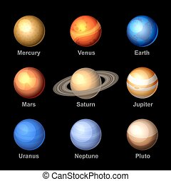 icons., vector., solare, pianeti, sistema
