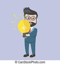 idea affari, lampada, bulbo, presa, uomo
