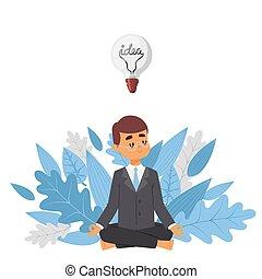 idea affari, visionario, uomo affari, vettore, fondo, sorridente, carattere, leaves., idea, completo, albero, calma, cartone animato, attento, illustration., uomo meditando