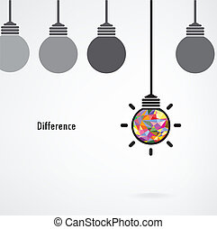 idea, concept., vettore, fondo, segno, bulbo, creativo, affari leggeri, differenza, educazione, illustrazione