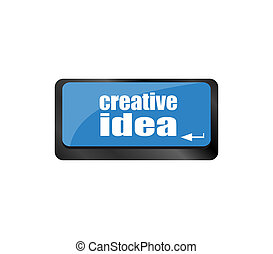 idea, creativo, bottone, chiave, tastiera computer