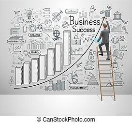 idea, set., vettore, illustrazione, style., wall., doodles, icone, uomo affari, affari, successo, disegno