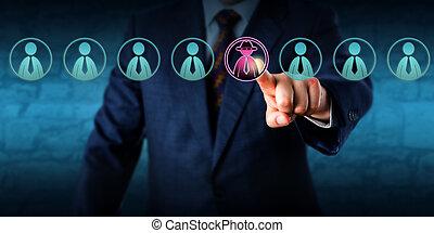 identificare, potenziale, direttore, minaccia, membro