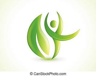 identità, affari, logotipo, foglia, natura, scheda, sano