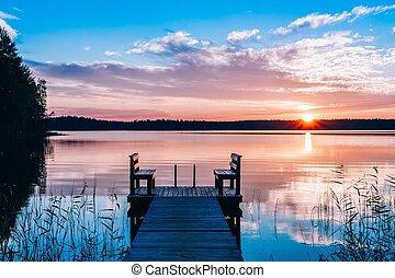 idilliaco, legno, sopra, lungo, panca, lake., tramonto, water., banchina, o, alba, vista