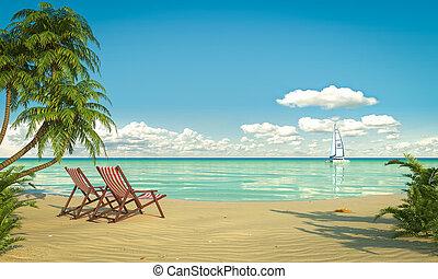 idilliaco, spiaggia, caribean, vista