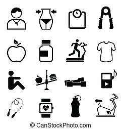 idoneità, salute, dieta, icone