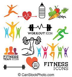 &, idoneità, salute, icone