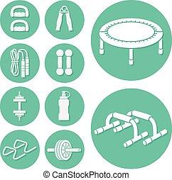 idoneità, set, esercizio, icone
