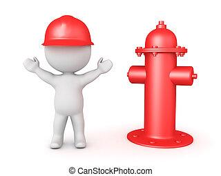 idrante, pompiere, fuoco, prossimo, 3d, felice