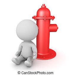 idrante, seduta, fuoco, carattere, prossimo, rosso, 3d