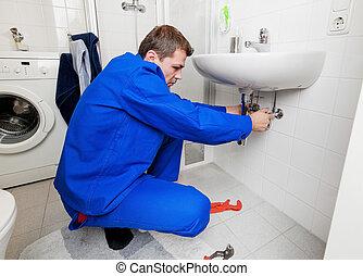idraulica, riparazioni, lavandino
