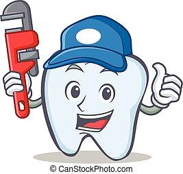 idraulico, dente, carattere, stile, cartone animato