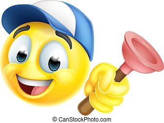 idraulico, icona, tuffatore, emoticon, uomo tuttofare, emoji
