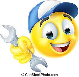 idraulico, meccanico, chiave, icona, o, emoji, emoticon