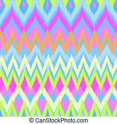 ikat, neon, zigzag