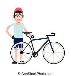 il portare, bicicletta, berretto, icona, uomo