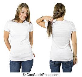 il portare, camicia bianca, femmina, vuoto