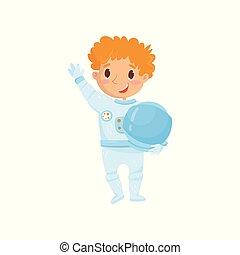 il portare, carino, wants, protettivo, cosmonauta, future., rosso-dai capelli, sogno, bambino ragazzo, appartamento, adolescente, vettore, disegno, costume, presa a terra, profession., astronauta, essere, helmet., cartone animato