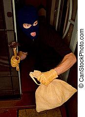 il portare, casa, aburglar, furto, balaclava.