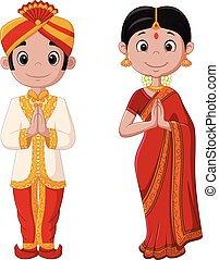 il portare, coppia, tradizionale, costume indiano, cartone animato