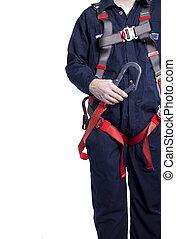 il portare, coveralls, protezione, bardatura, cadere, lanyard, uomo
