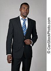 il portare, cravatta, gentiluomo, completo