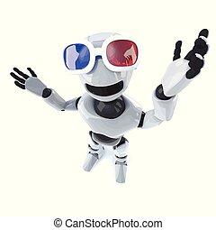 il portare, divertente, robot, uomo, meccanico, occhiali, cartone animato, 3d