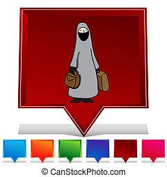 il portare, donna, bottone, musulmano, set, burka, gemstone