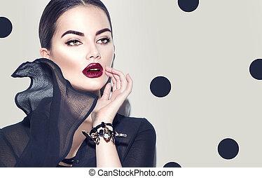 il portare, donna, dress., bellezza, chiffon, trucco, scuro, moda, elegante, sexy, modello, ragazza