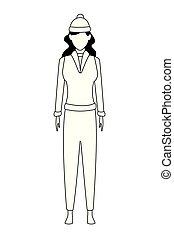 il portare, donna, maglione, berretto, lavorato maglia, nero, bianco