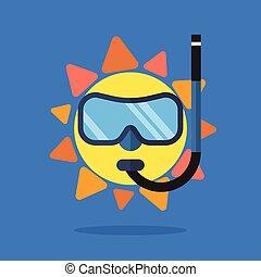 il portare, estate, occhiali da sole, sole