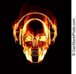 il portare, grande, fiammeggiante, cranio, immagine, cuffie