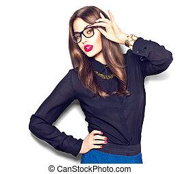 il portare, moda, bellezza, occhiali, isolato, ragazza, fondo, sexy, bianco, modello